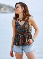 Çiçek Desenli Bohem Stil V Yakalı Bluz