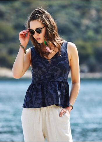 Gri Desenli Bohem Stil V Yakalı Bluz