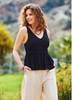 Siyah Bohem Stil V Yakalı Bluz
