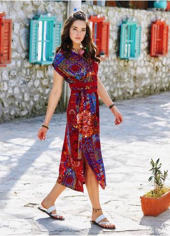 Yırtmaç Detaylı Kemerli Kırmızı Desenli Yazlık Elbise