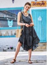 Gri Desenli Kayık Yaka Kolsuz Günlük Elbise