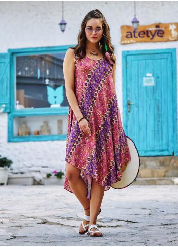 Çiçek Desenli Kayık Yaka Kolsuz Günlük Elbise