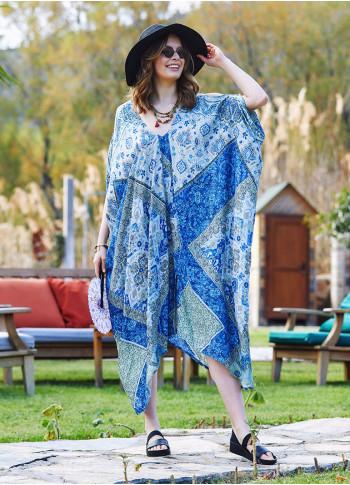 Mavi Desenli Sırt Dekolteli Bohem Yazlık Elbise