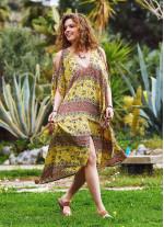 Sarı Desenli Sırt Dekolteli Bohem Yazlık Elbise