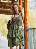 Otantik Boncuk Süslemeli Günlük Uzun Haki Elbise