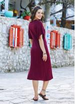 Bordo V Yaka Bohem Yarasa Kollu Elbise
