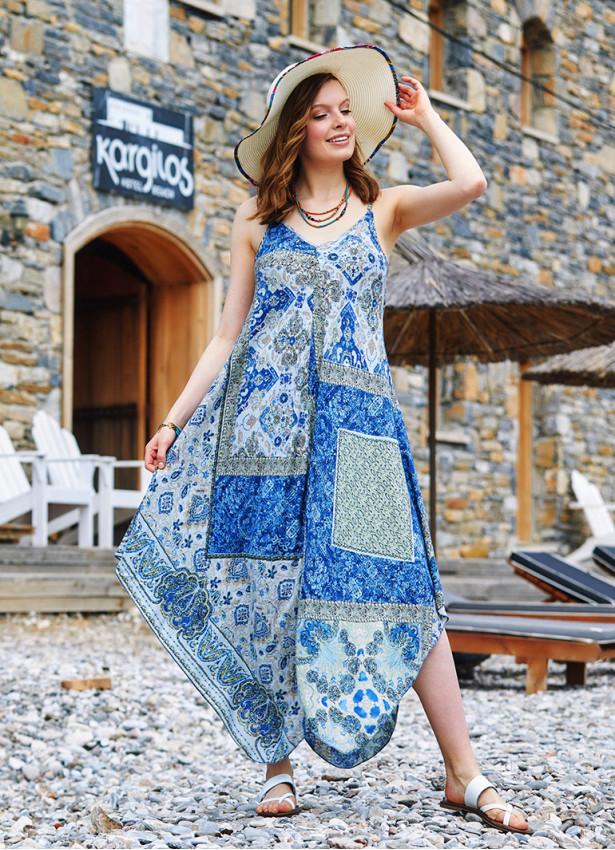 İp Askılı Mavi Desenli Elbise