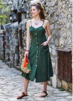 Yeşil Midi Boy Çapraz Askılı Elbise