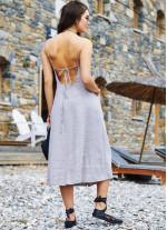 Krem Midi Boy Çapraz Askılı Elbise