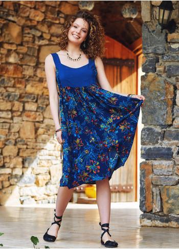 Mavi Çiçekli Sırt Dekolteli Elbise