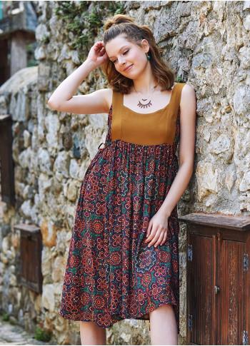 Retro Desenli Sırt Dekolteli Elbise