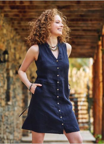 Siyah Keten Gömlek Elbise
