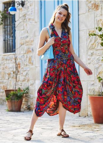 Çiçek Desenli Gömlek Yaka Viskon Elbise