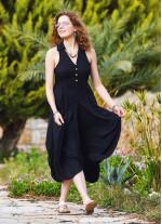Siyah Gömlek Yaka Viskon Elbise