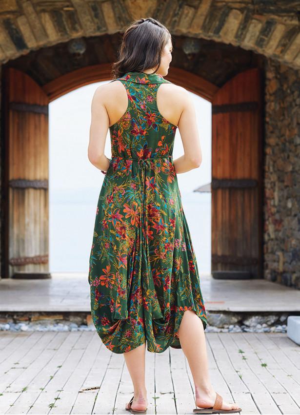 Yeşil Zambak Gömlek Yaka Viskon Elbise