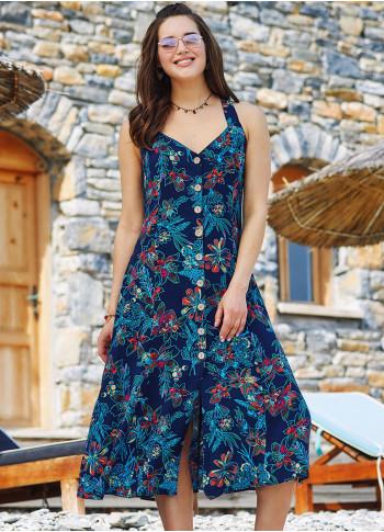 Mavi Çiçekli Boyundan Askılı Uzun Kloş Elbise