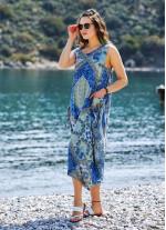 Mavi Desenli Bohem Kayık Yaka Cepli Uzun Günlük Elbise