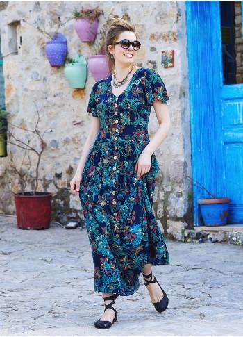 Çiçek Desenli Bohem Tarz Maxi Volanlı Elbise