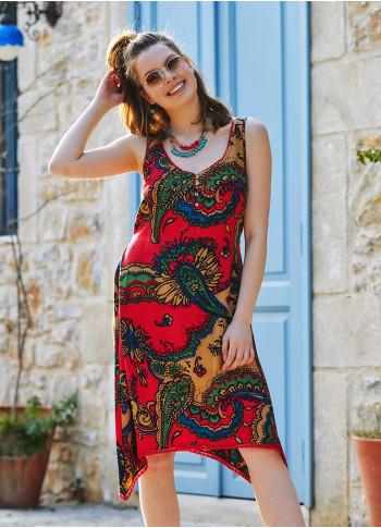 Otantik Desenli Yazlık Kısa Asimetrik Kesim Elbise
