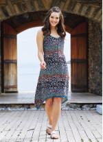 Çiçekli Yazlık Kısa Asimetrik Kesim Elbise