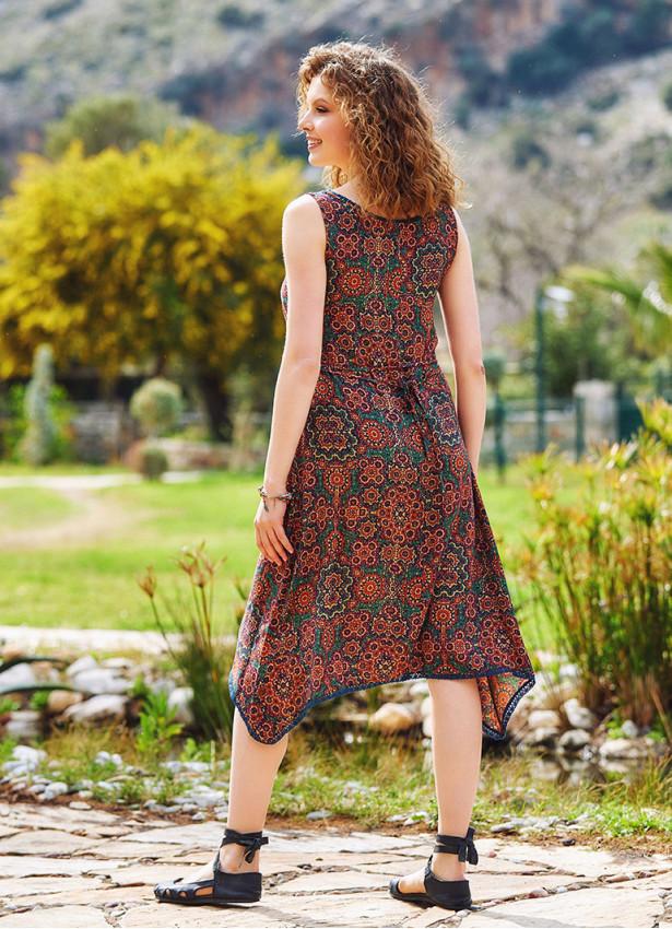 Etnik Desenli Yazlık Kısa Asimetrik Kesim Elbise