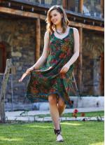 Yeşil Zambak Yazlık Kısa Asimetrik Kesim Elbise