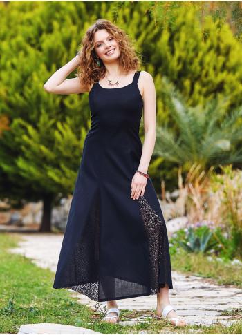 Bohem Tarz Maxi Dantelli Siyah Elbise