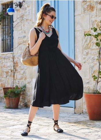 Siyah Salaş Yazlık V Yakalı Elbise