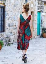 Etnik Desenli Yazlık V Yakalı Elbise