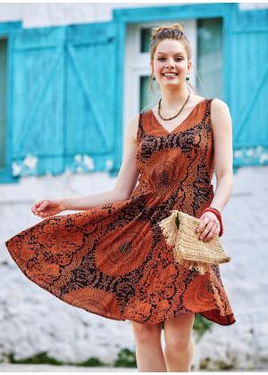 Otantik Desenli Yazlık V Yakalı Elbise