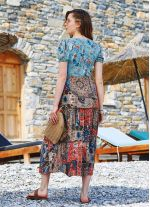 Turuncu Patchwork Uzun Balon Kol Elbise