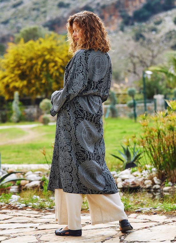 Gri Desenli Kimono