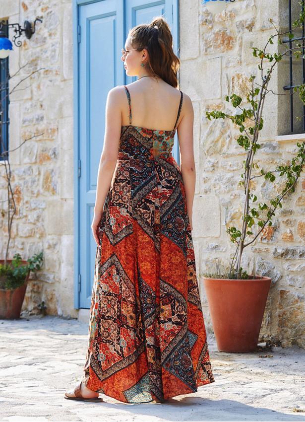 Kahve Desenli Askılı Belden Bağlamalı Elbise