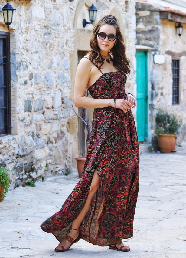 Etnik Desenli Askılı Belden Bağlamalı Elbise