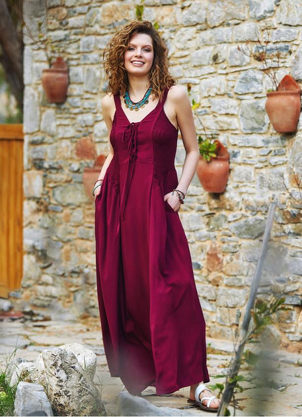 Kalın Askılı Gipeli Bordo Elbise