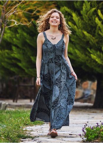 Kalın Askılı Gipeli Gri Elbise
