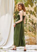 Kalın Askılı Gipeli Haki Elbise