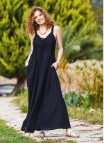 Kalın Askılı Gipeli Siyah Elbise