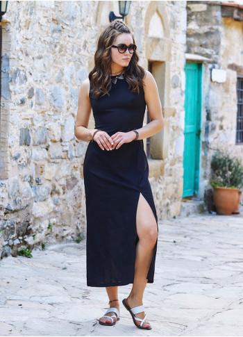 Yırtmaç Detaylı Sırt Dekolteli Siyah Elbise