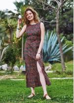 Desenli Yırtmaç Detaylı Sırt Dekolteli Elbise