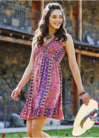 Karanfil Desenli Dantel Yaka Askılı Yazlık Elbise