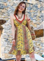 Sarı Desenli Dantel Yaka Askılı Yazlık Elbise