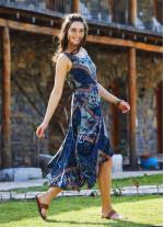 Lacivert Deseli Kayık Yaka Asimetrik Kesim Elbise