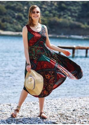 Siyah Desenli Kayık Yaka Asimetrik Kesim Elbise