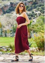 Straplez Dekolte Kloş Midi Bordo Günlük Elbise