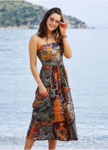 Hardal Straplez Dekolte Kloş Midi Günlük Elbise