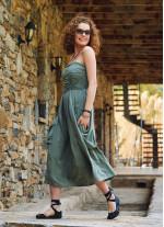 Yeşil Straplez Dekolte Kloş Midi Günlük Elbise