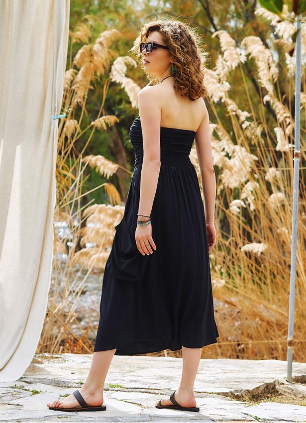 Straplez Dekolte Kloş Midi Siyah Günlük Elbise