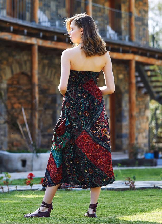 Etnik Desenli Straplez Dekolte Kloş Midi Günlük Elbise