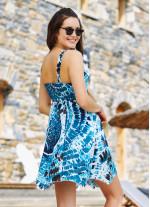 Etnik Desenli Askılı Sırt Dekolteli Kloş Günlük Elbise